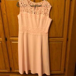 Beautiful pink with lace crêpe dress.